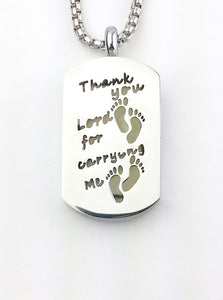 Essential oildogtag  diffuser necklace With footprints message from Earth in Wire