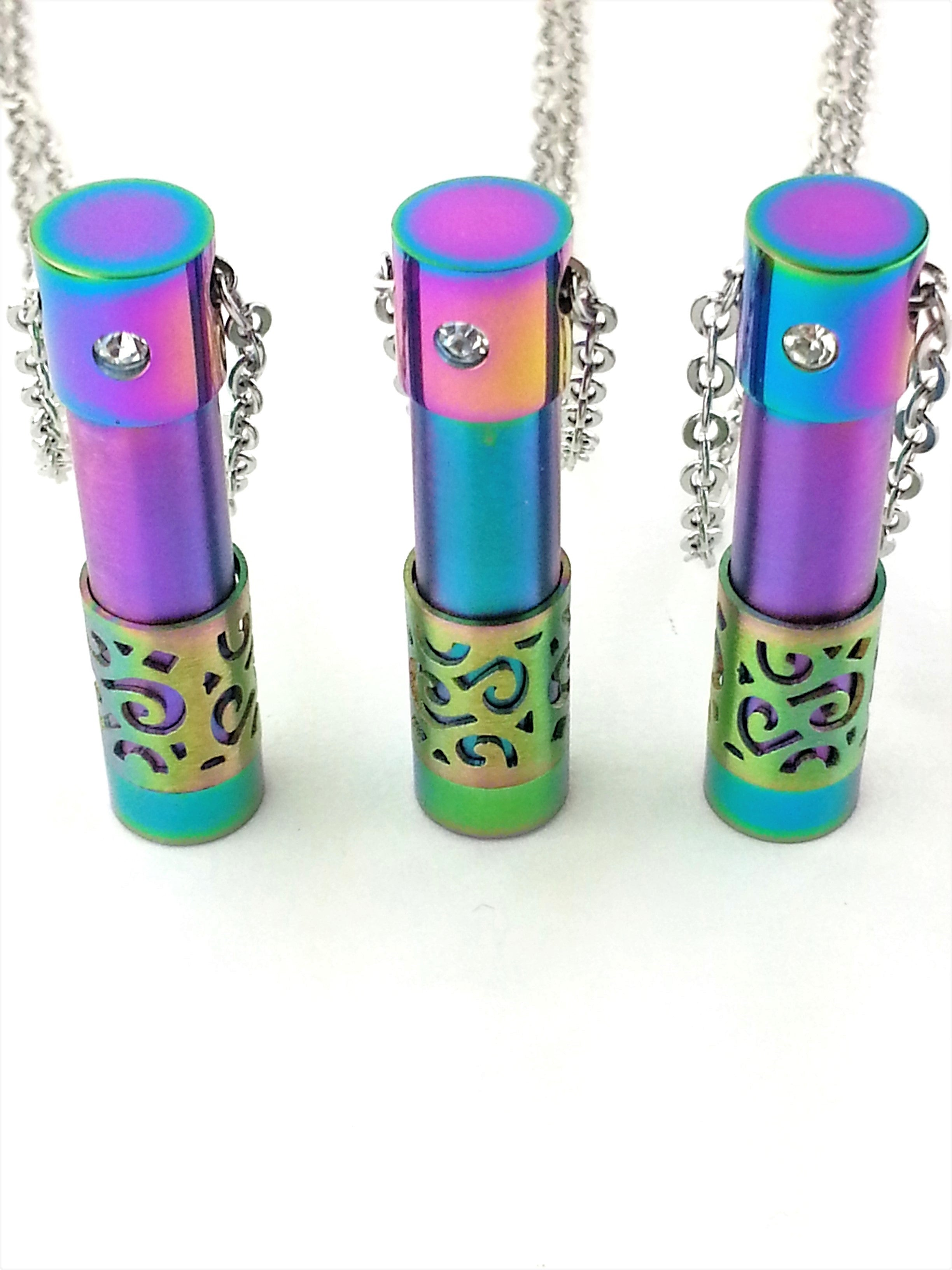 Iridescent essential oil vial diffuser necklace from Earth in Wire