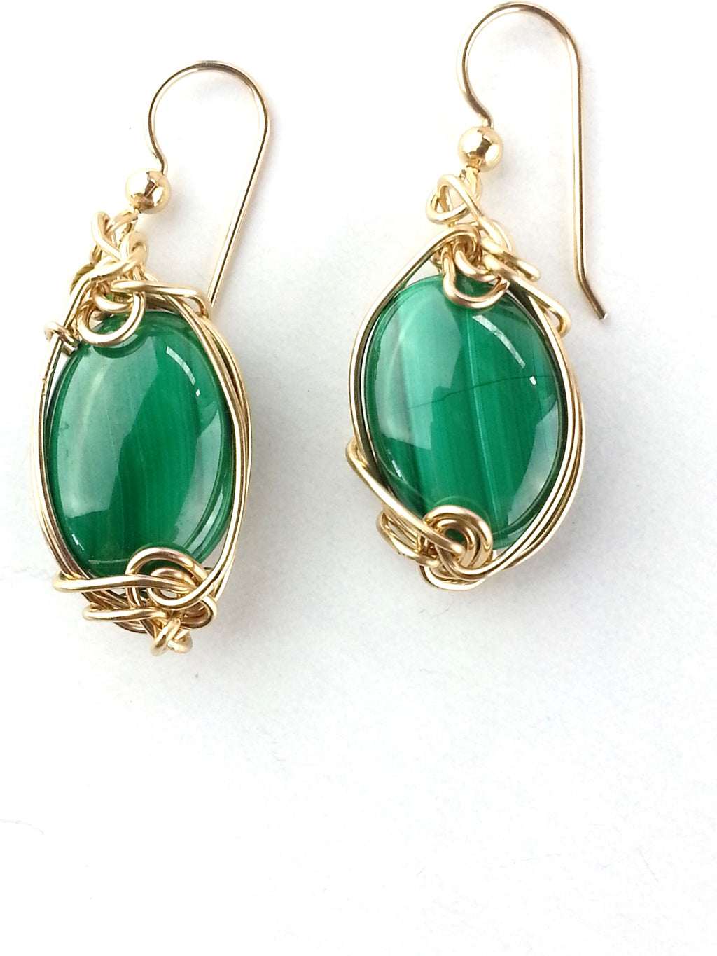 forest green dangle malachite earrings set in 14kt gold