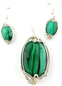 rich complex forest green malachite pendant and dangling earrings set in sterling silver.  Handcrafted from Earth in Wire