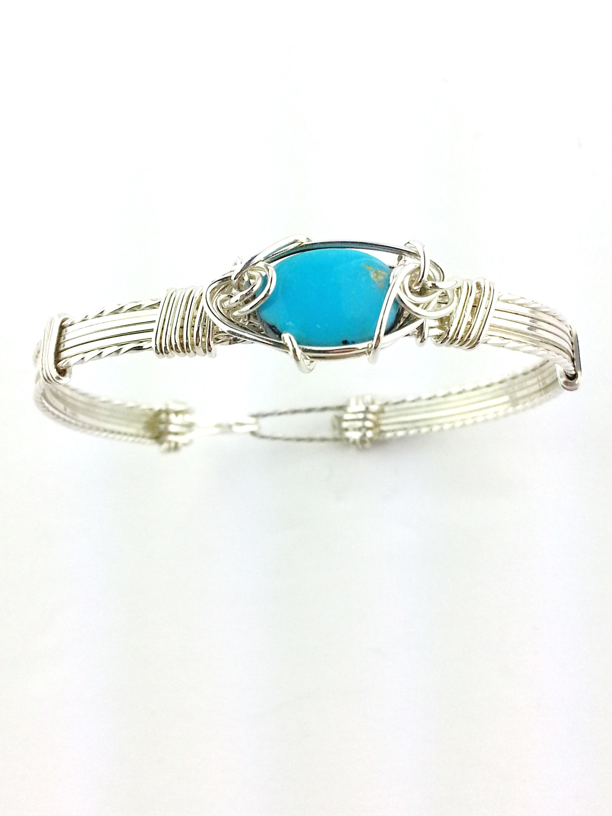robin egg blue sleeping beauty turquoise bracelet set in sterling silver