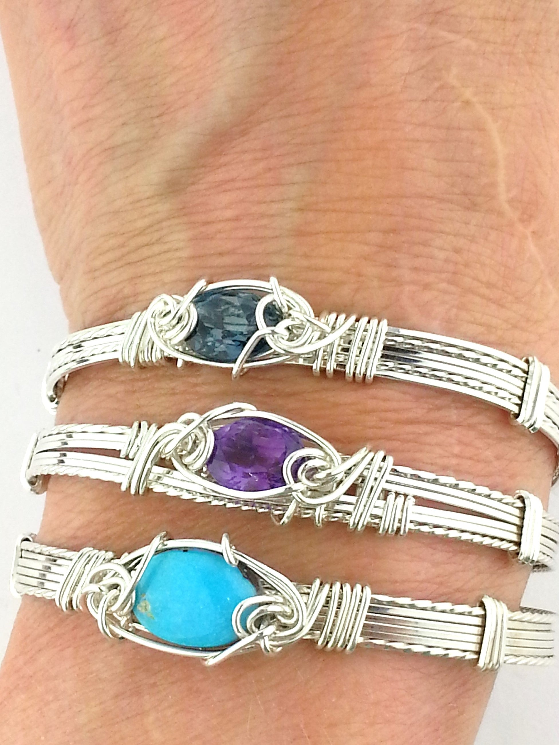 Beautiful custom wire wrapped bracelets by Earth in Wire