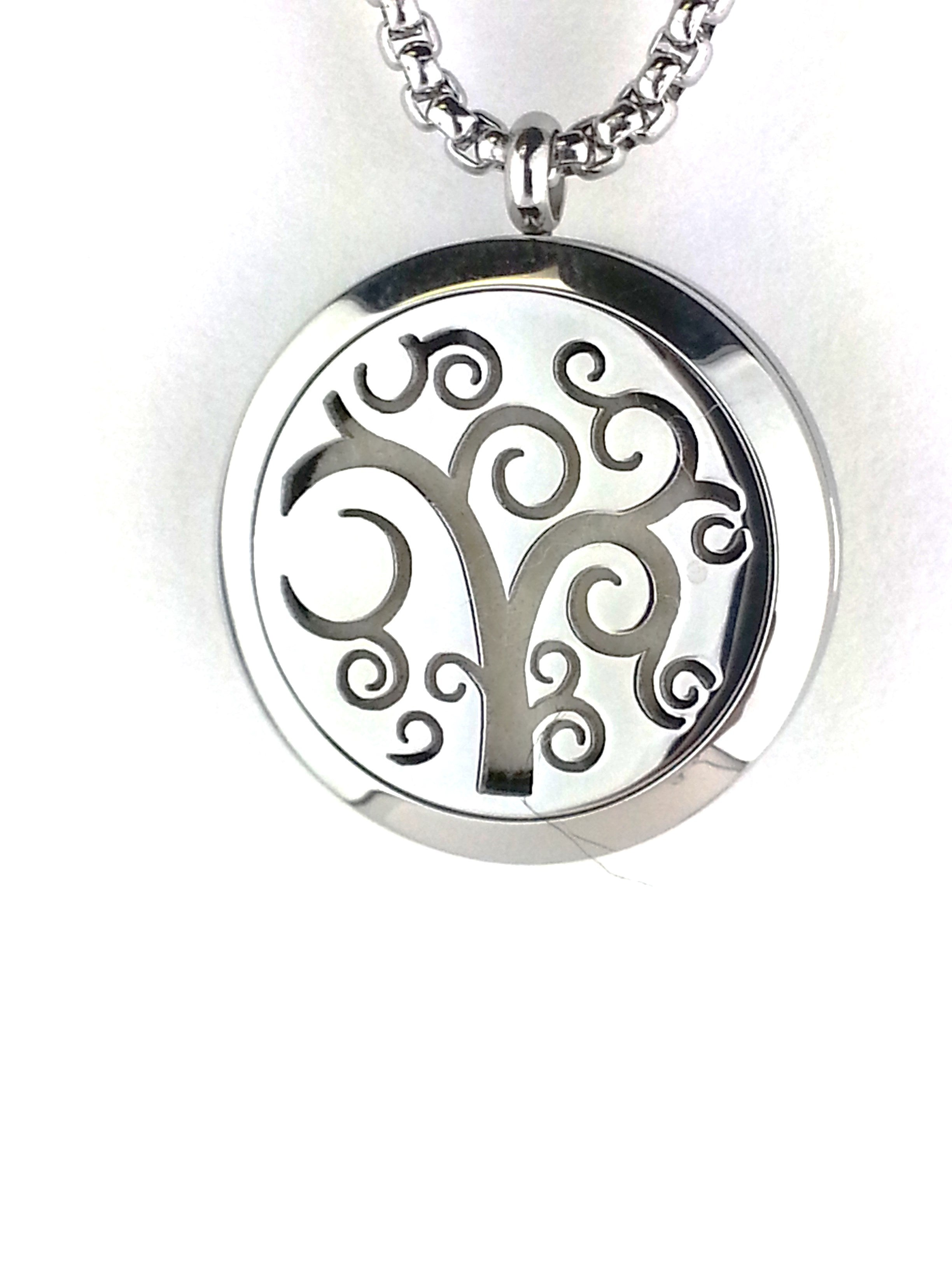 Stainless steel essential oil diffuser necklace locket is a fun whimsical tree of life with a Tree of Life. Open your diffuser locket and put  in your favorite essential oil