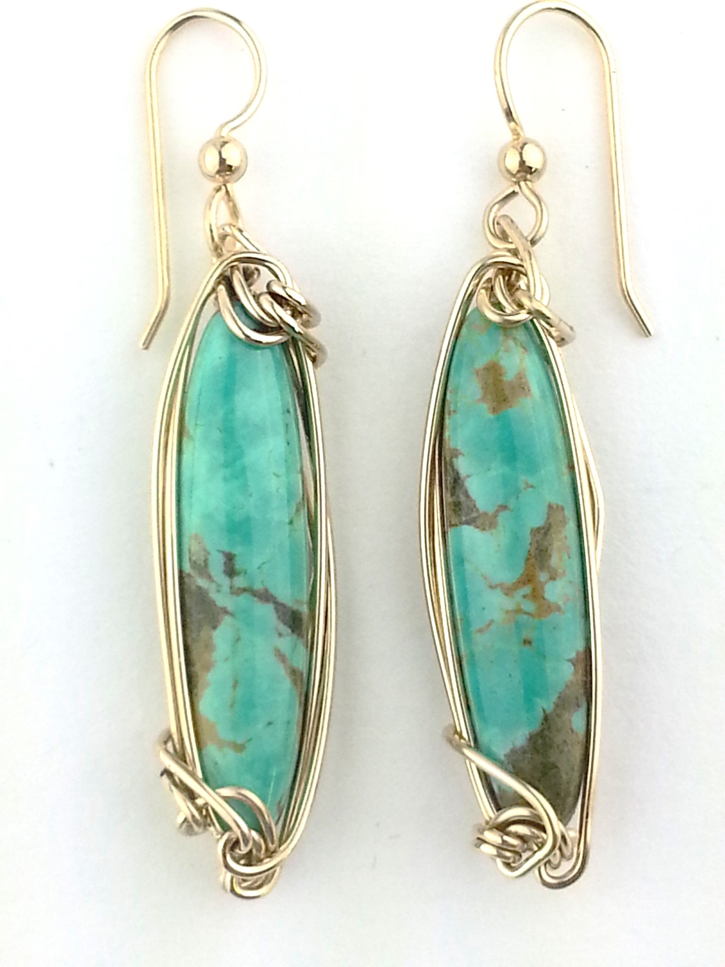 slender light green turquoise earrings by Earth in Wire made in America