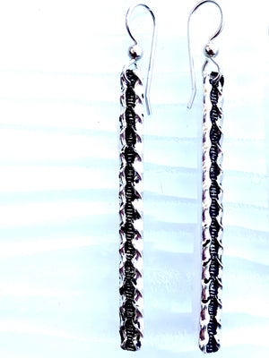 Sleek Sterling Silver Dangling Bar Earrings - Wavy Track bar earrings