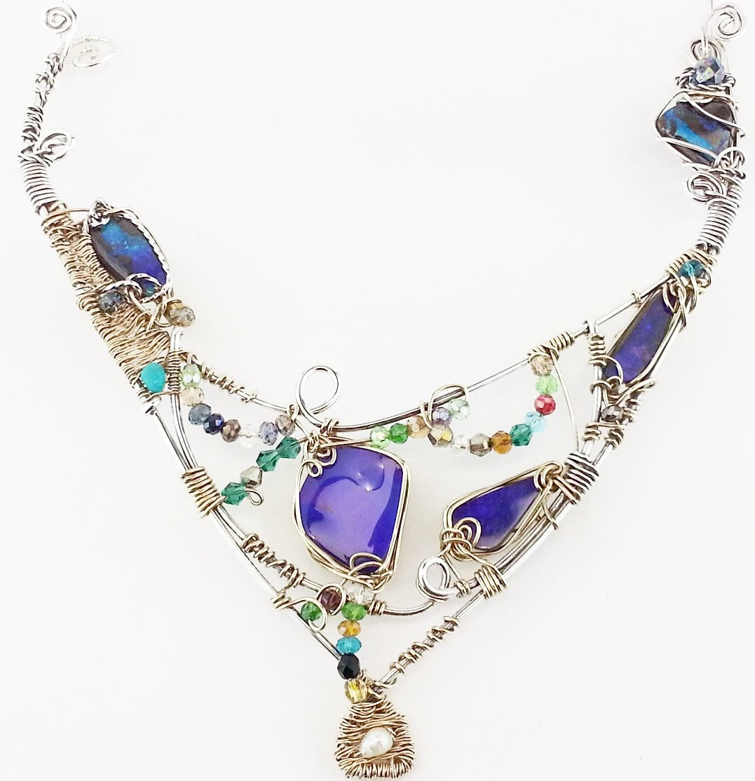 Australian Boulder Opal Collar Necklace