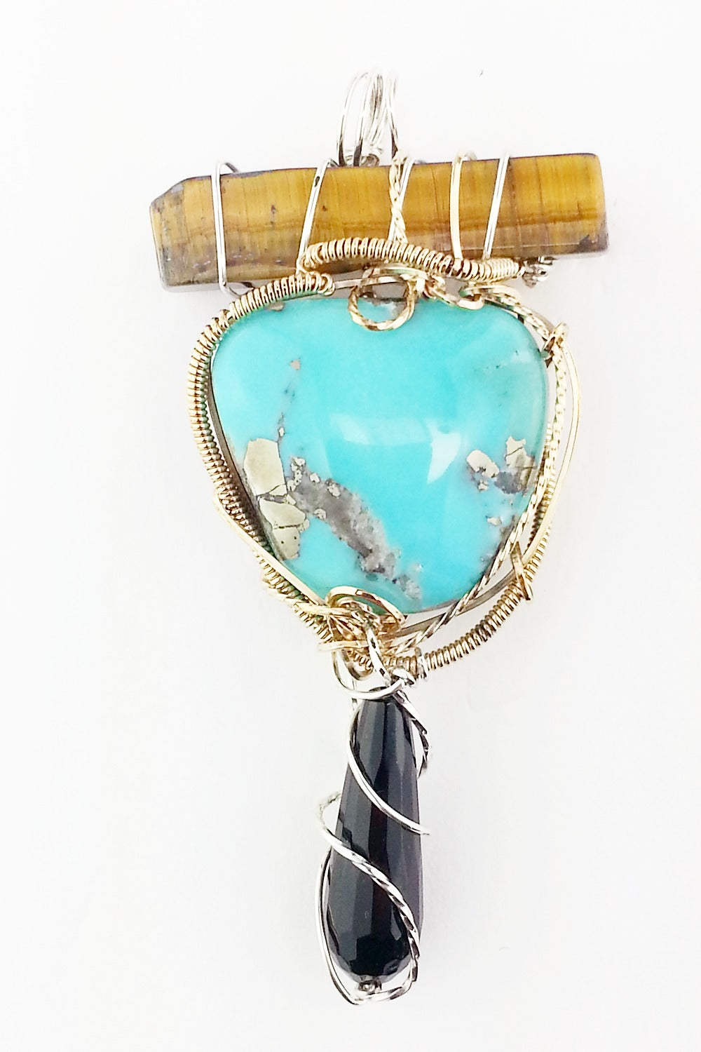 The Trio - Tiger eye, Turquoise and Black Onyx Pendant