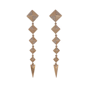 14K Rose Gold Pyramid Stud Dangle Earrings with Pavé Diamonds