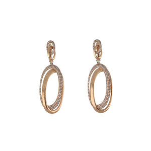 14K Rose Gold Dangle Earrings with Diamonds
