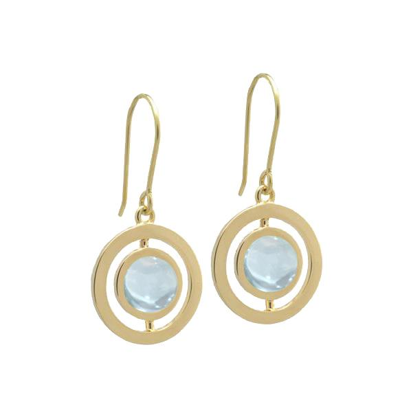 L. Klein 18K Gold Anello Earrings with Aquamarine