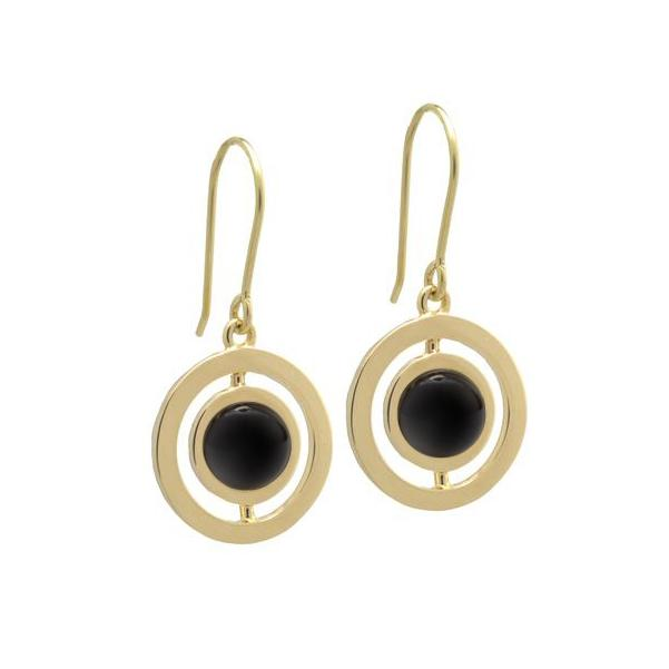 L. Klein 18K Gold Anello Earrings with Black Agate