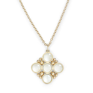 L. Klein 18K Gold Bubbles Classic Chain Necklace with Moonstone Pendant