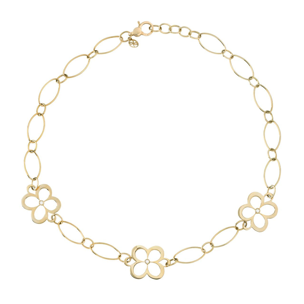 L. Klein 18K Gold Fiore Large Link Chain Necklace with Diamonds