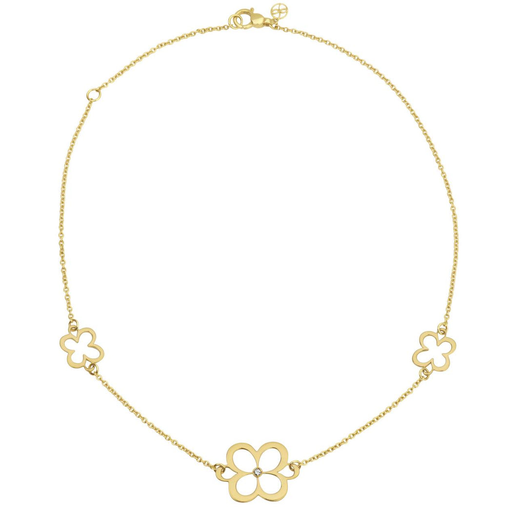 L.Klein 18K Gold Fiore Classic Chain Necklace with Diamond