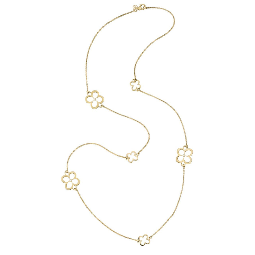 L. Klein 18K Gold Fiore Large and Small Classic Chain Necklace with Diamonds