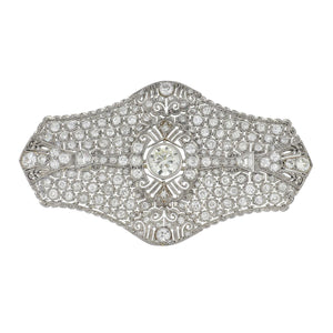 Art Deco Platinum Undulating Openwork Diamond Plaque Brooch
