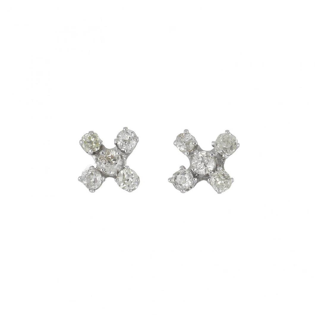 Estate 14K White Gold Diamond X Stud Earrings