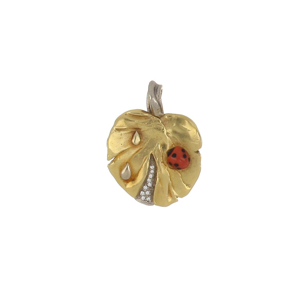 Estate 18K Gold Lily Pad with Coral Lady Bug Pendant with Diamonds