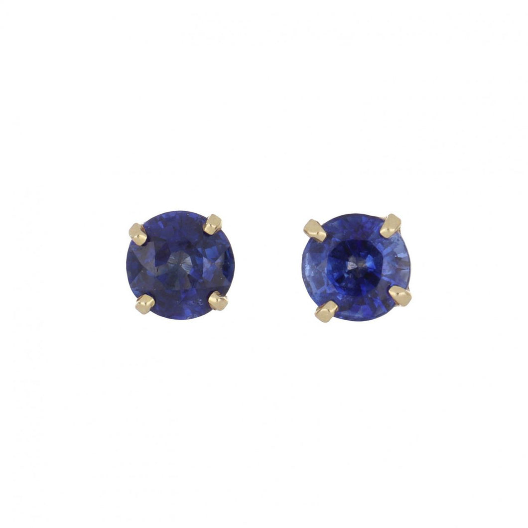 14K Gold Round Sapphire Stud Earrings