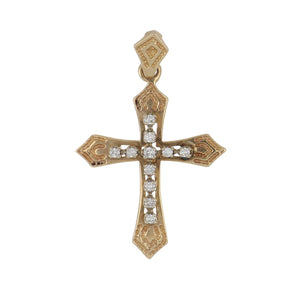 Estate 14K Gold Cross Pendant with Diamonds