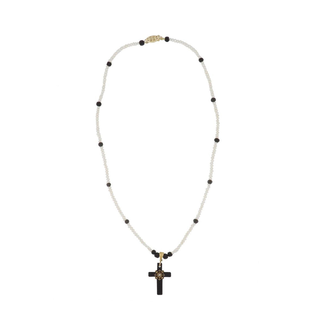 14K Gold Onyx Cross Pendant Necklace with Beads and Seed Pearls
