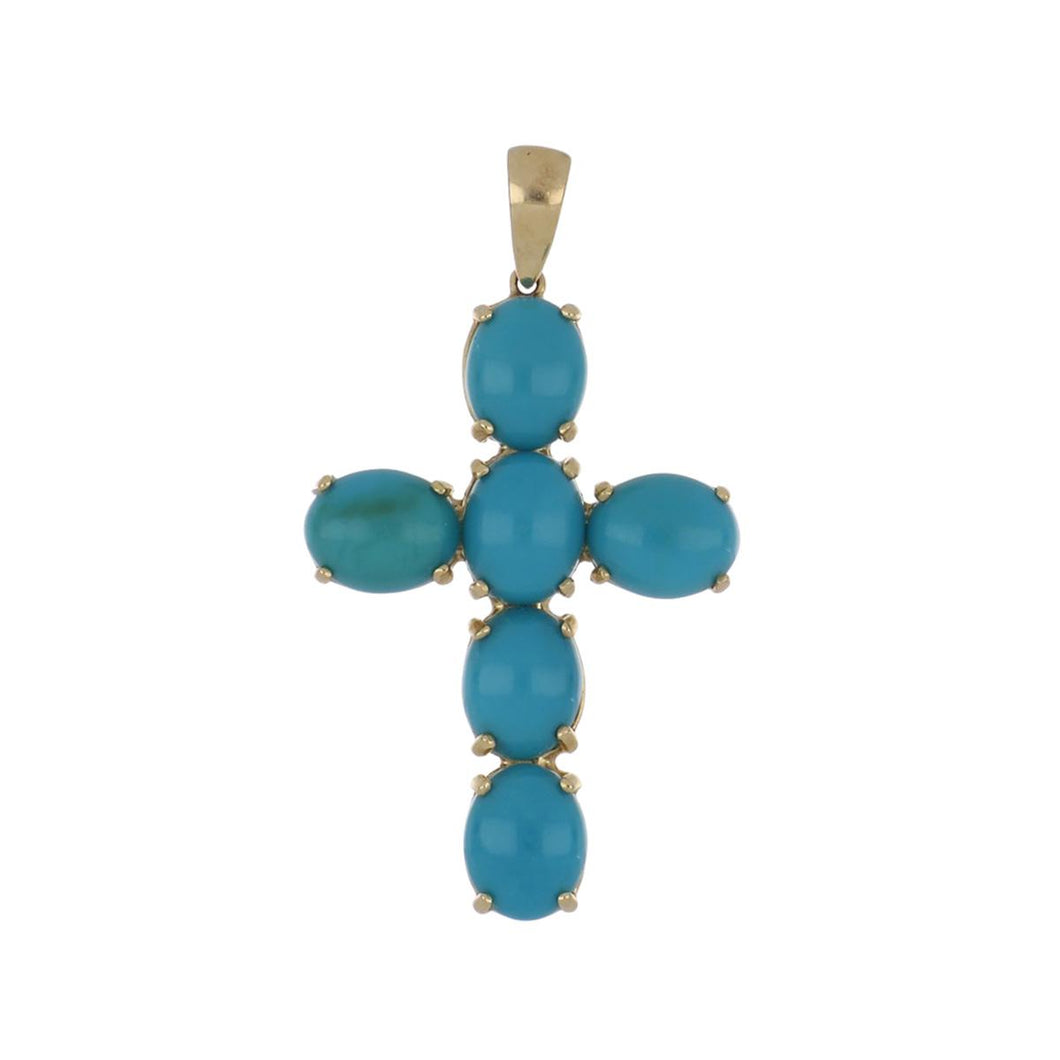 14K Gold Cabochon Turquoise Cross Pendant