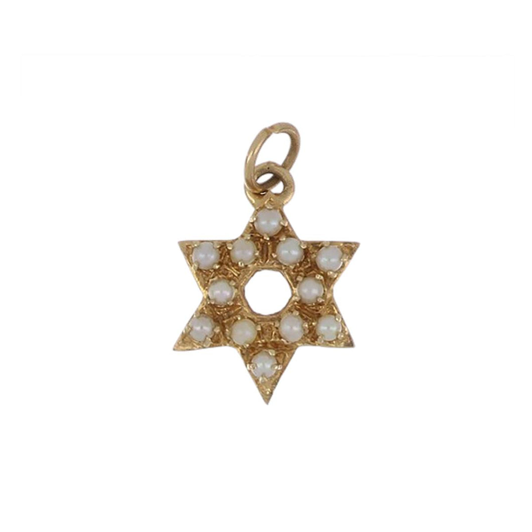14K Gold Star of David Pendant with Seed Pearls