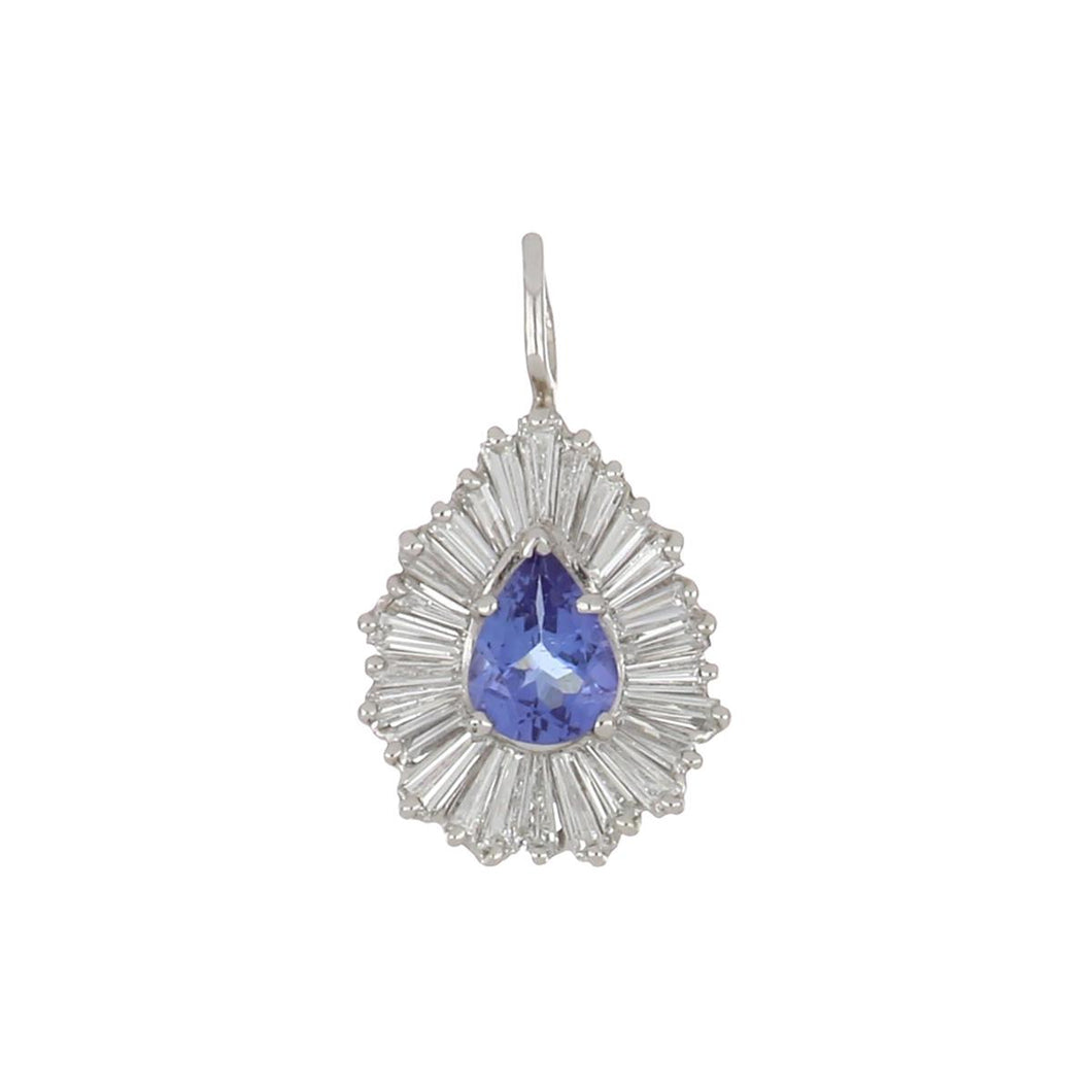 Estate 14K White Gold Pear Tanzanite Pendant with Baguette Diamonds