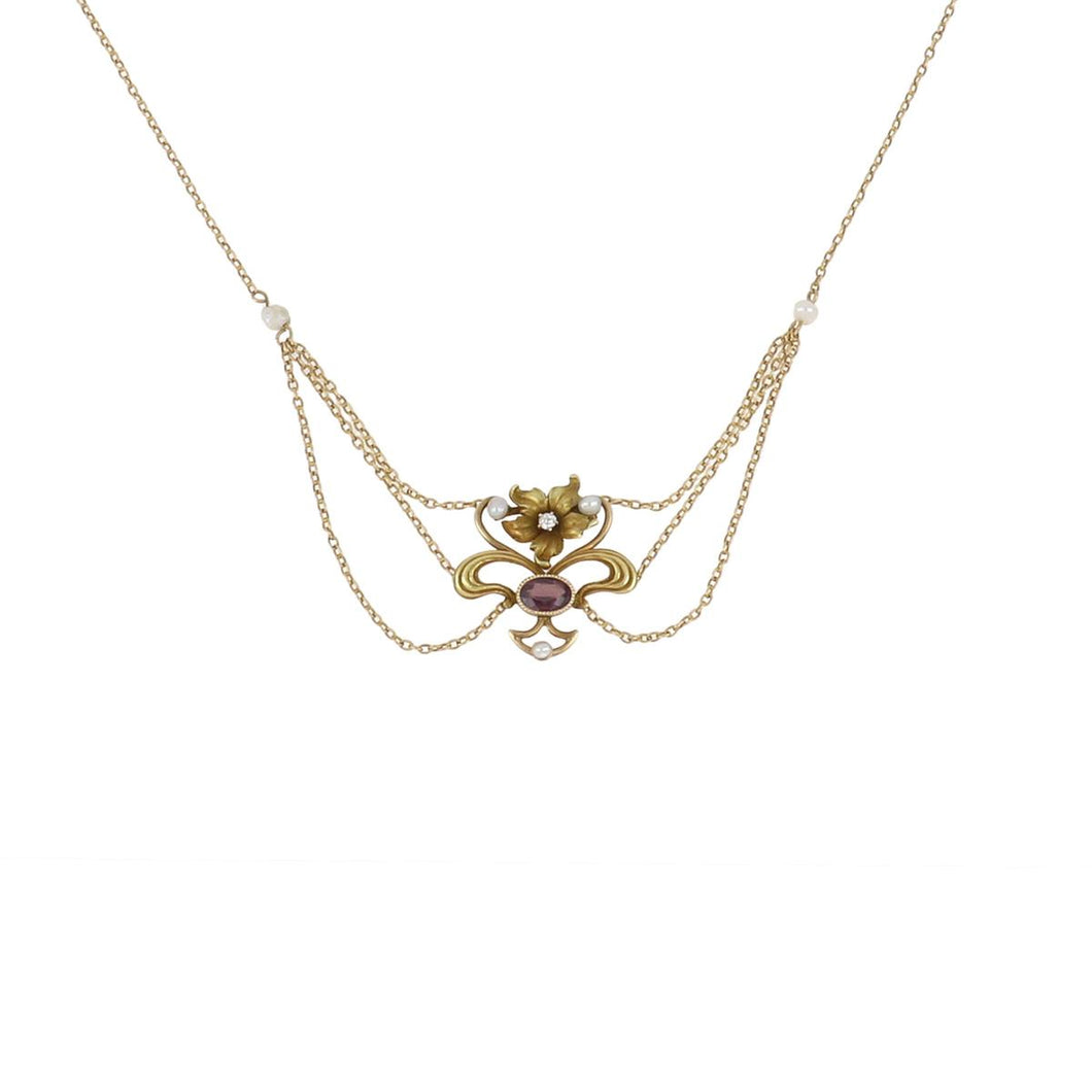 Art Nouveau 14K Gold Floral Swag Necklace