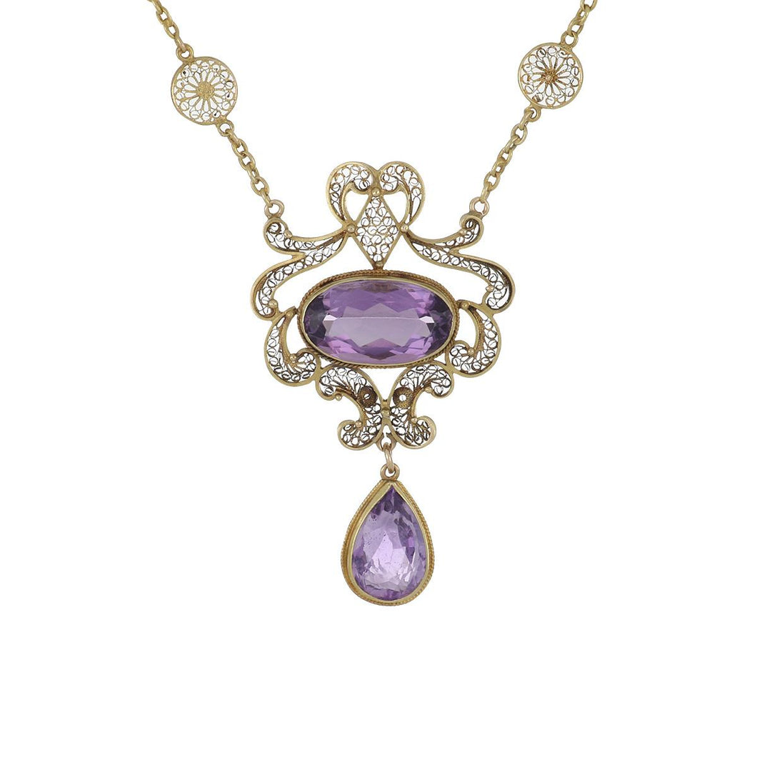 Antique Art Deco 14K Gold Openwork Amethyst Pendant with 14K Gold Openwork Chain