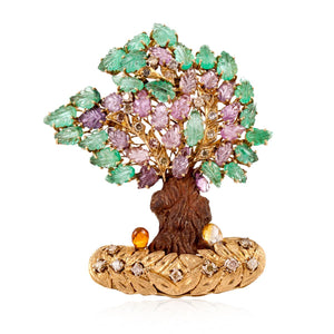 Nardi 18K Gold Gemset Tree Brooch