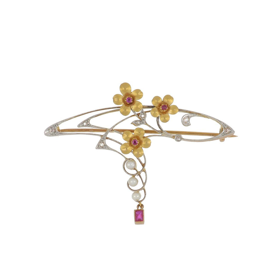 Art Nouveau Platinum and Gold Multi-Gemstone Flower Pin