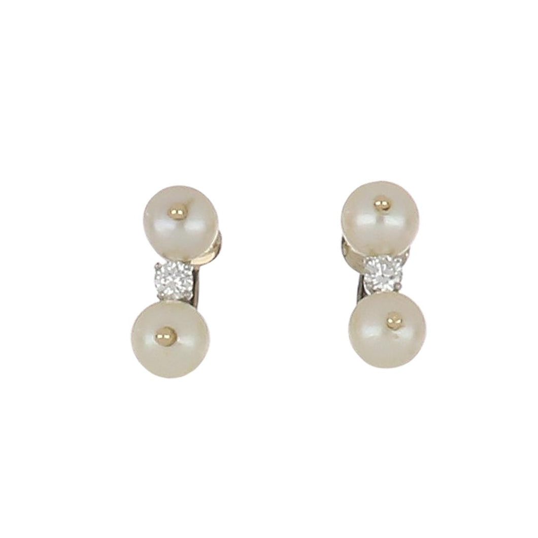 Estate 14K White Gold Pearl and Diamond Earrings