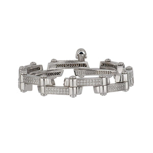 Estate Charriol 18K White Gold Bracelet with Diamonds and Sapphire