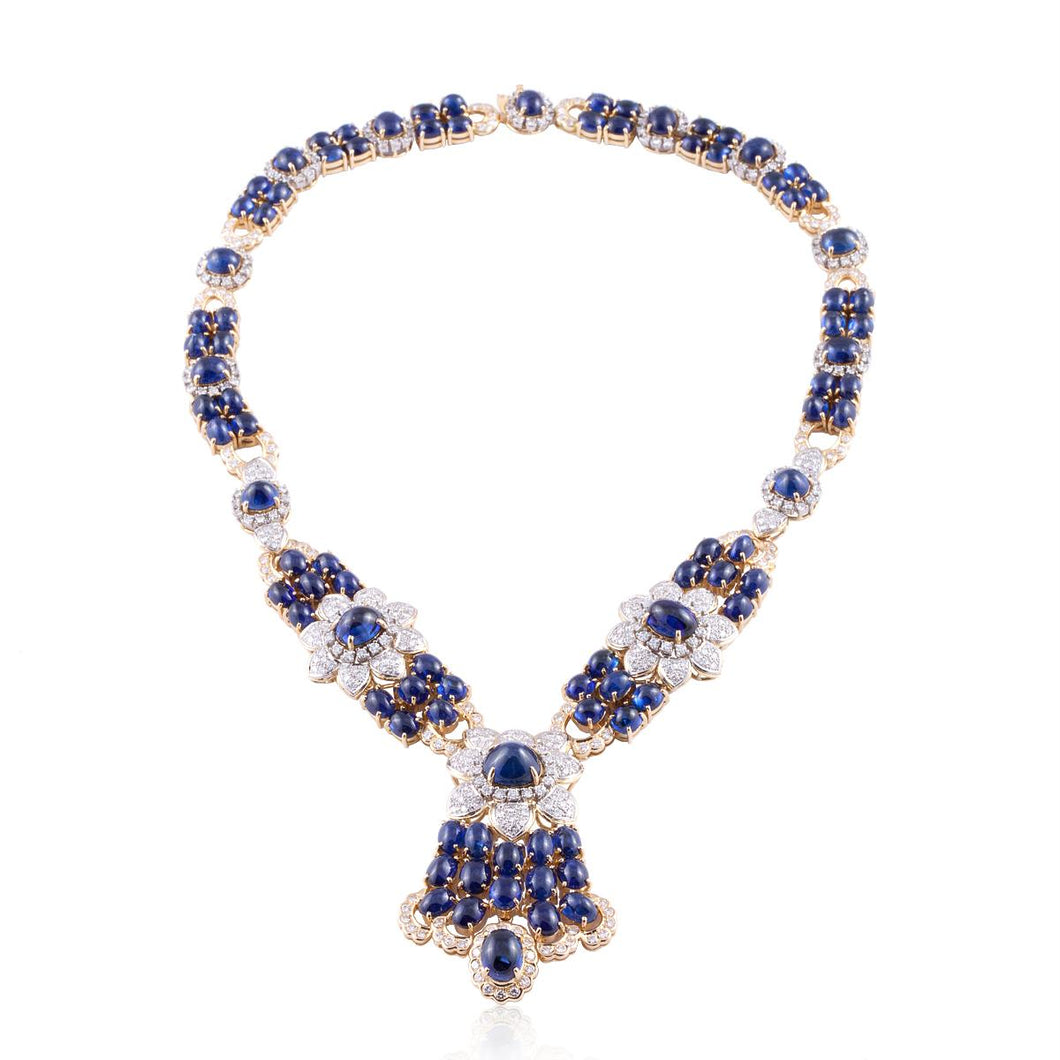18K Gold Sapphire and Diamond Necklace