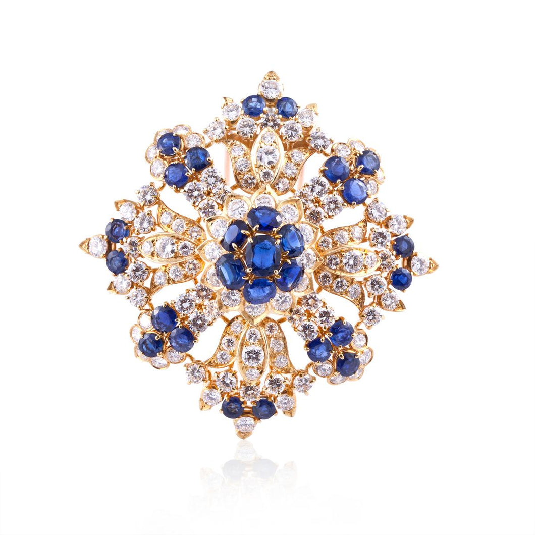 18K Gold Sapphire and Diamond Brooch