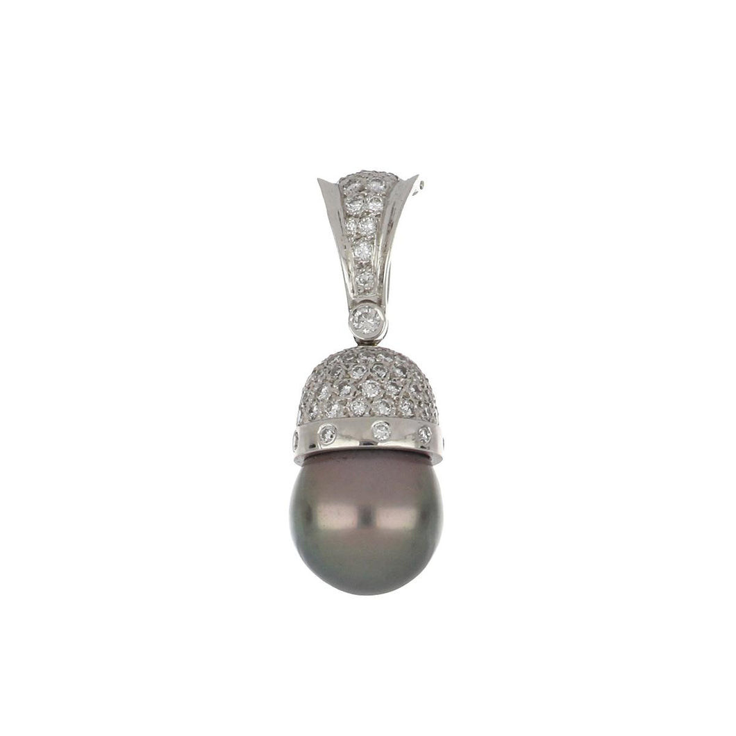 Estate 18K White Gold Cultured Tahitian Pearl and Diamond Pendant