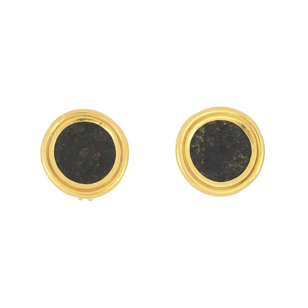 Estate 22K Gold Ancient Coin Earrings