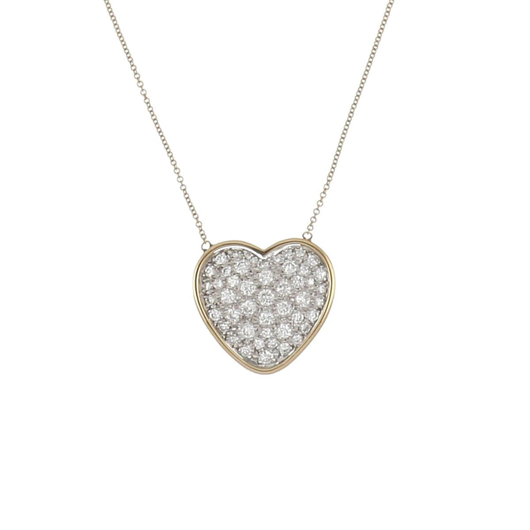 14K Gold Pavé Heart Pendant Necklace