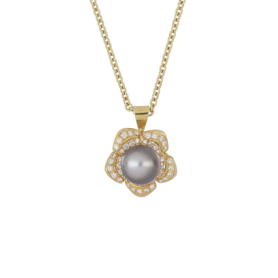 18K Gold Tahitian Pearl and Diamond Flower Pendant Necklace