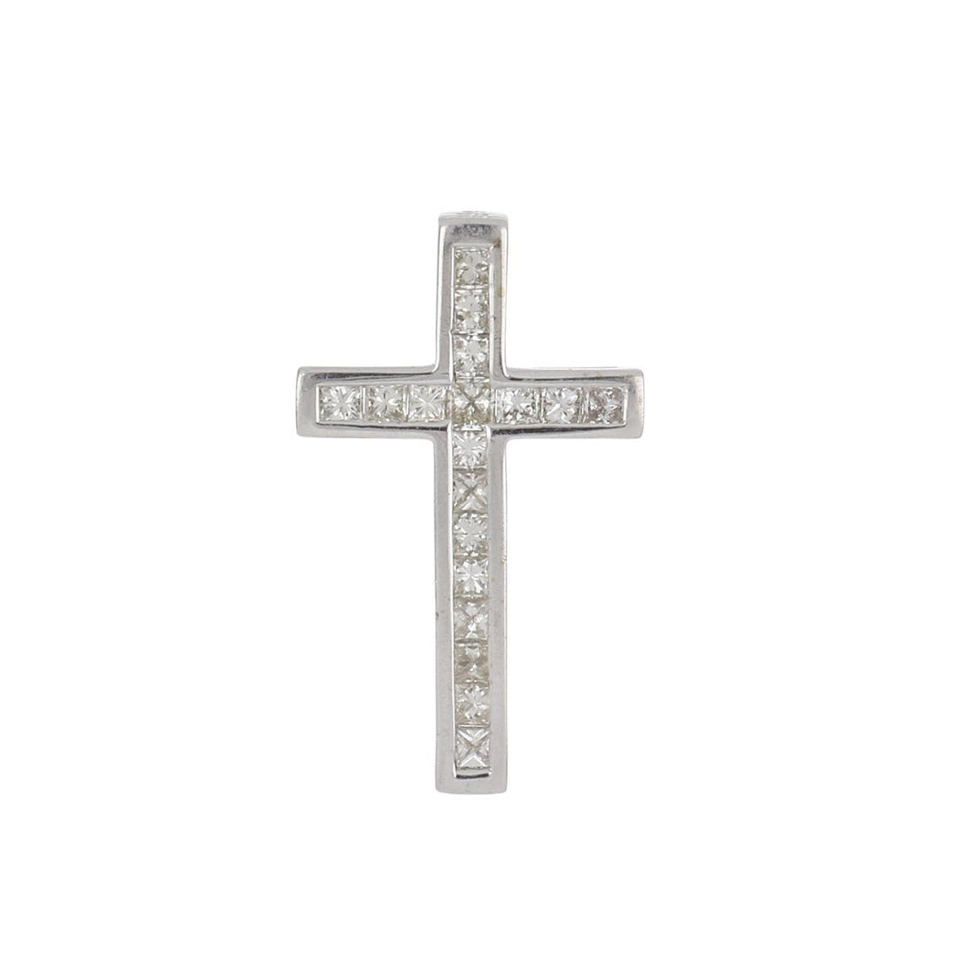 Estate 18K White Gold Princess-Cut Diamond Cross Pendant