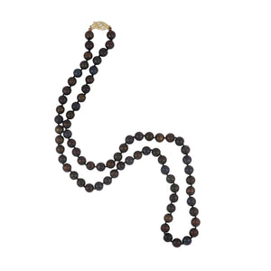 Estate 14K Gold Cultured Black Pearl Necklace with Diamonds