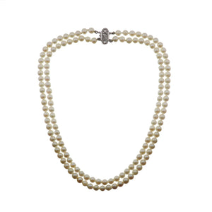Estate 10K Gold Double Strand Pearl Necklace