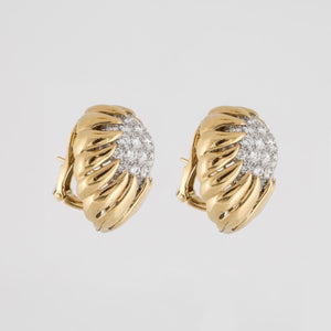 David Webb 18K Gold Diamond Earrings