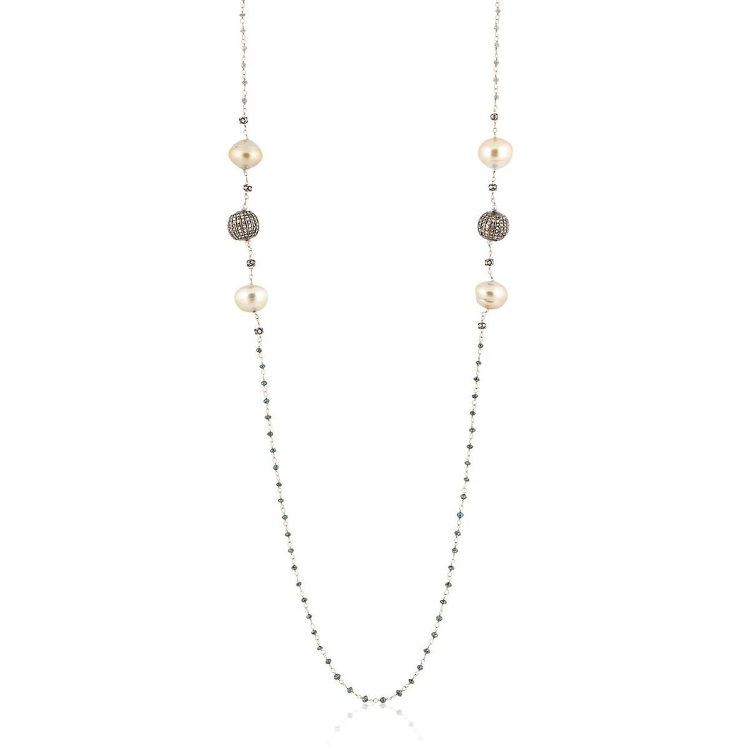 Estate 18K Gold Rough Cut Diamond and South Sea Pearl Necklace