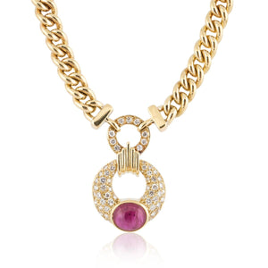 Ruby and Diamond Chain Link Necklace