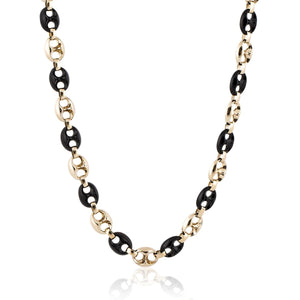 Estate Neiman Marcus  14K Gold and Onyx Anchor Link Necklace