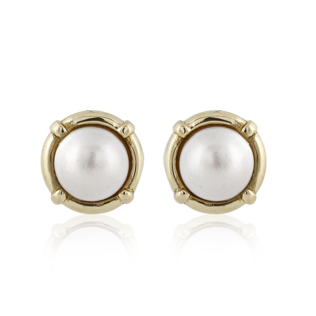Estate 14K Gold Cultured Mabé Pearl Earrings