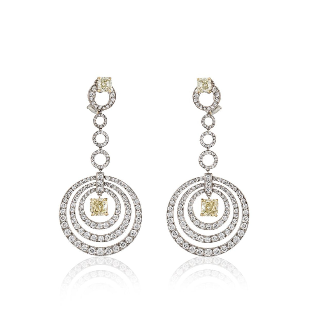 Estate Graff 18K Two-Tone Gold White and Yellow Diamond Earrings