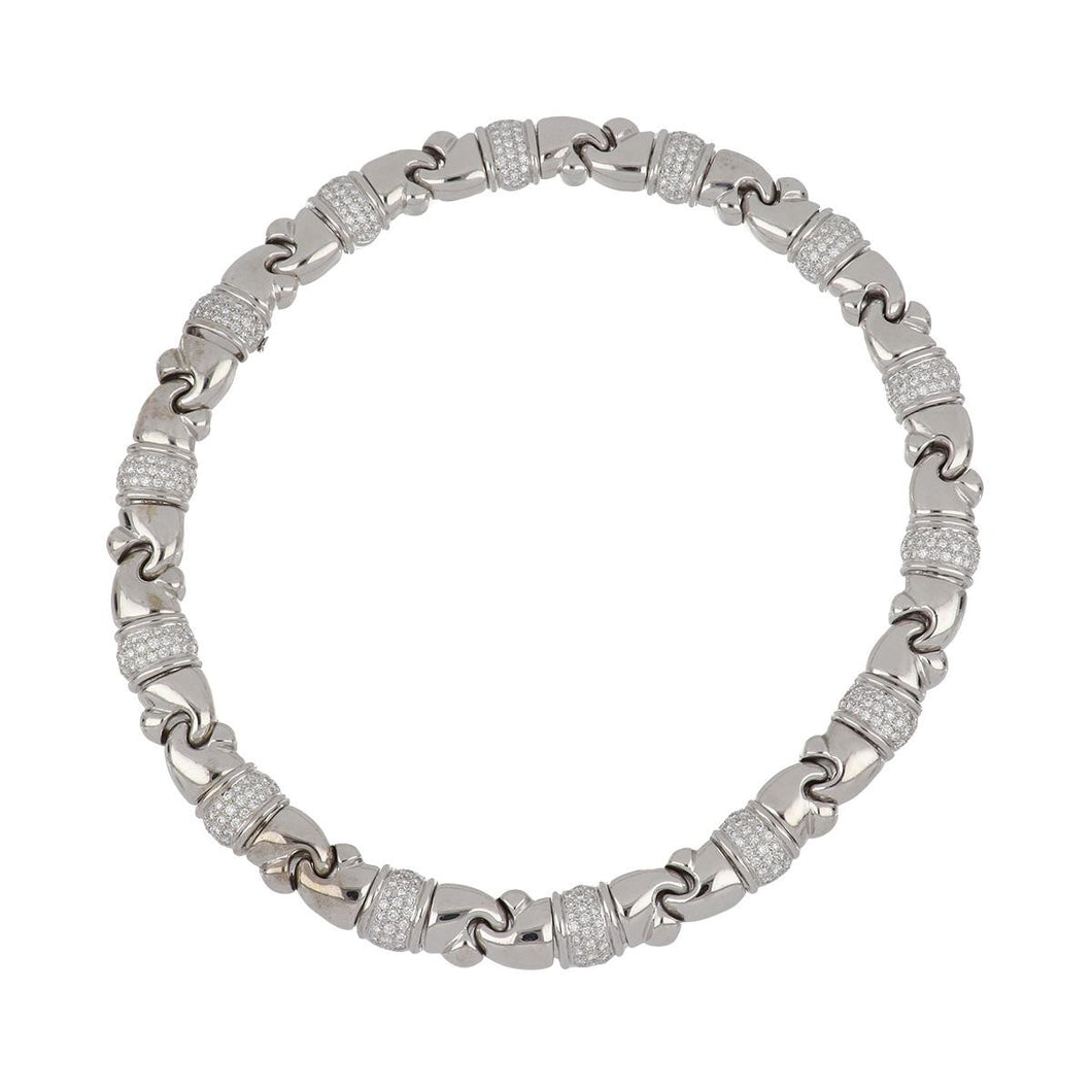 Estate 18K White Gold Collar Necklace with Pavé Diamond Stations